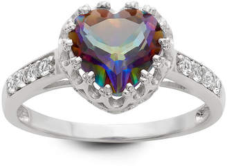 FINE JEWELRY Womens Genuine Mystic Fire Topaz Sterling Silver Heart Cocktail Ring