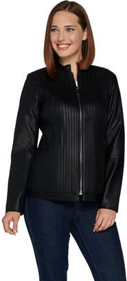Belle By Kim Gravel Belle by Kim Gravel Faux Leather & Stretch Ponte Jacket