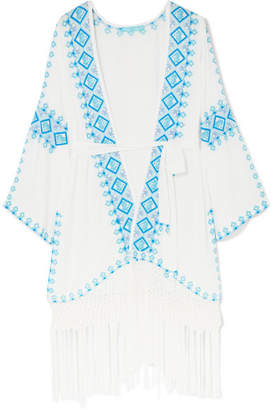 Melissa Odabash Kara Fringed Embroidered Voile Kaftan - White