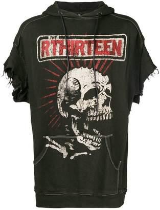 R 13 skeleton print shortsleeved hoodie