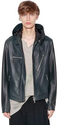 Yohji Yamamoto Hand-Painted Hooded Leather Jacket