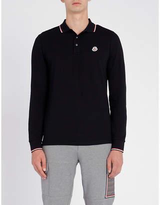 Moncler Stripe-trim cotton-piqué polo shirt