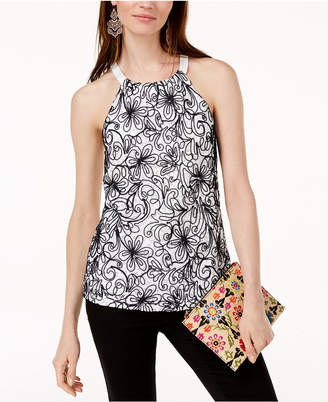 INC International Concepts I.N.C. Embroidered Lace Halter Top, Created for Macy's