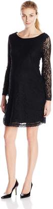 Three Seasons Maternity Women's Bell Long Sleeve Lace Solid Dress