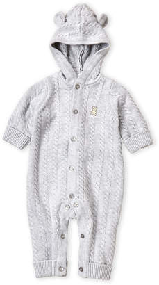 Little Me Newborns) Cable Knit Hooded Coverall