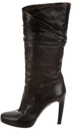 pradaPrada Mid-Calf Leather Boots