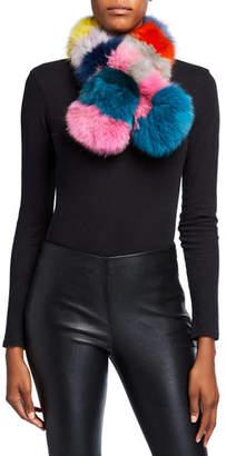 CHARLOTTE SIMONE Pop Multicolored Fox Fur Scarf