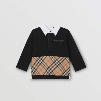 Burberry (バーバリー) - Burberry ロングスリーブ ヴィンテージチェックパネル コットンポロシャツ