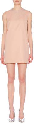 Embellished Jewel-Neck Sleeveless Crepe Mini Dress