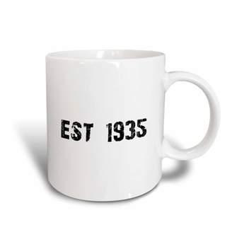 3dRose Grunge Est Established in 1935 - Thirties Baby Born Child of the 30s - Personal custom birth year, Ceramic Mug, 11-ounce