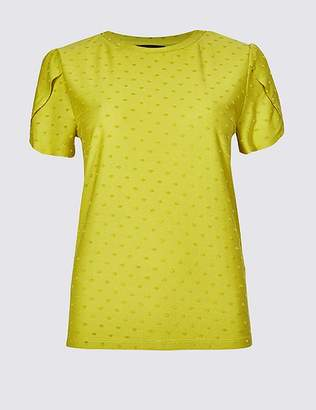 Marks and Spencer Spotted Round Neck Short Sleeve T-Shirt