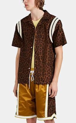 Just Don Men's Leopard Jacquard Button-Front Shirt - Brown