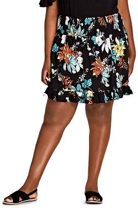 City Chic Plus Tropical Floral Ruffle-Trim Skirt