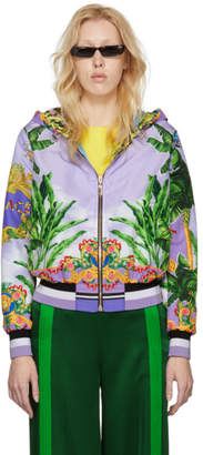 Versace Reversible Multicolor Hooded Bomber Jacket