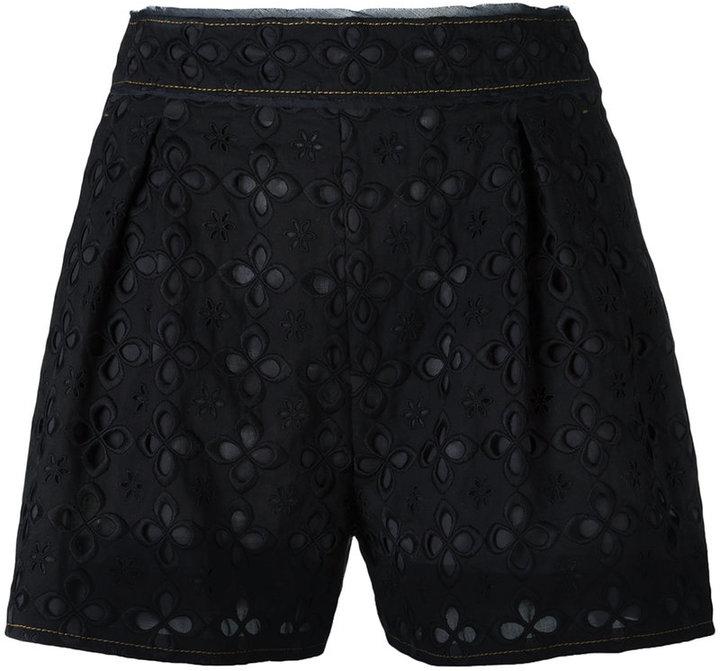 Miu MiuMiu Miu perforated flowers shorts