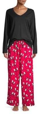 Hue Three-Piece Penguin Canes Pajama Set