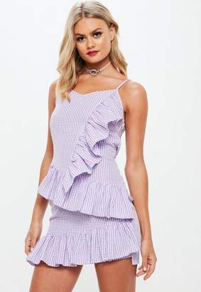 Missguided Lilac Frill Gingham Mini Dress