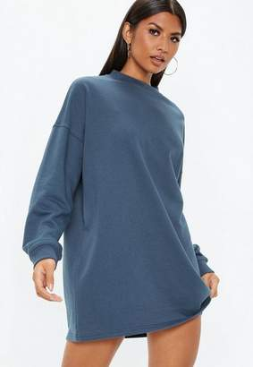 Missguided Blue Oversized Sweater Dress