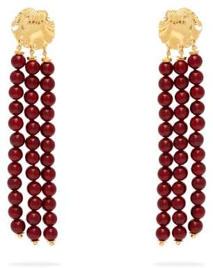 Elise Tsikis - Madera Beaded Tassel Drop Earrings - Womens - Red