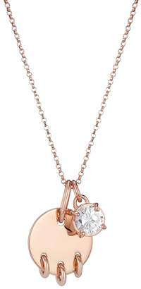 One and One Studio - Rose Gold Disc Pendant With Piercing Detail & Crystal Jewel Charm Necklace On Rolo Chain