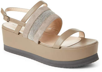 Fabiana Filippi Grey Leather Embellished Flatform Sandals