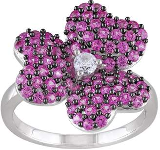 Sterling Created Pink & White Sapphire Flower Ring