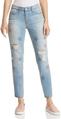 Hudson Riley Crop Relaxed Straight Jeans in Amplify