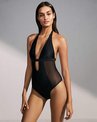 Express Plunging Mesh Cut-Out One-Piece Swimsuit