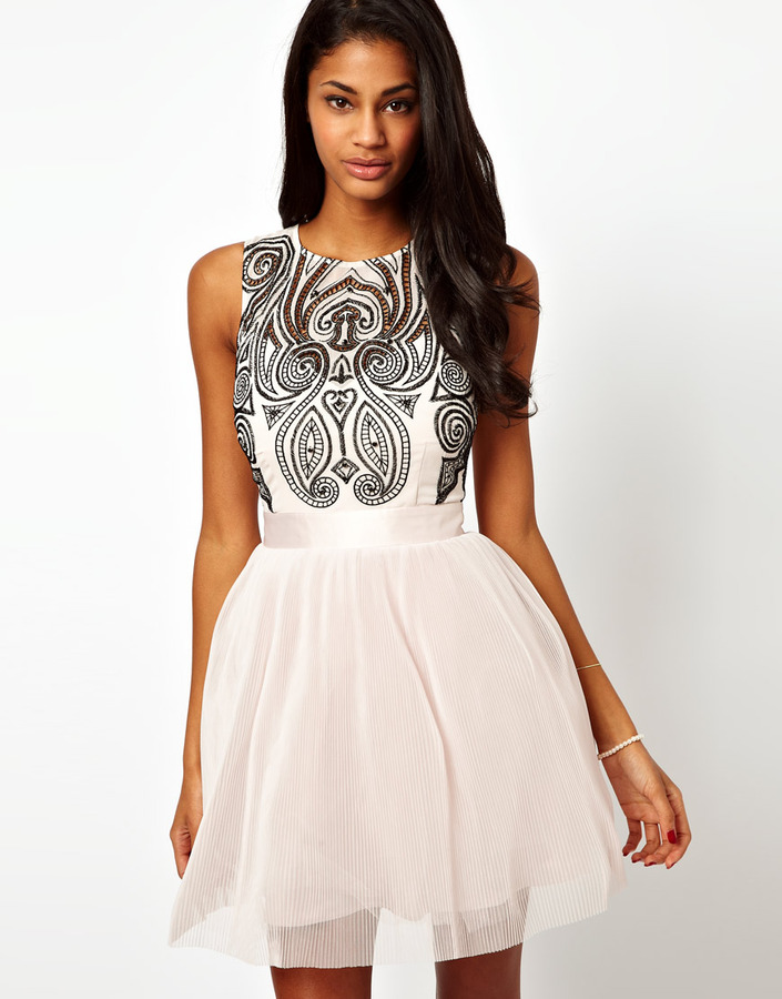 Lipsy VIP Prom Dress with Embroidered Bodice