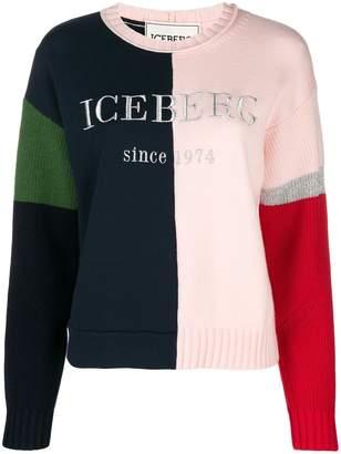 Iceberg colour blocked logo jumper
