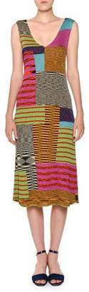Missoni V-Neck Sleeveless A-Line Multicolor Knit Midi Dress