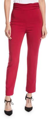 CUSHNIE Ruched-Waist Fitted Skinny-Leg Liquid Cady Pants