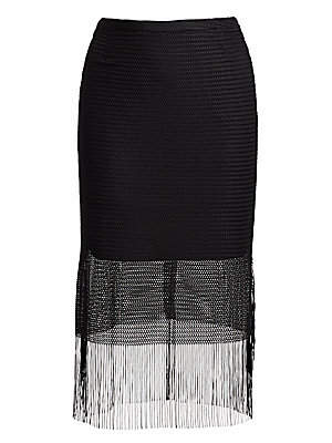 Akris Punto Women's Fringed Mesh Midi Skirt