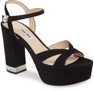d0c09cc2a Miu Miu Platform Heel Women s Sandals - ShopStyle