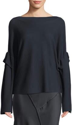 Vince Tie-Sleeve Boat-Neck Wool Sweater Top