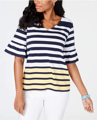 Charter Club Striped Colorblocked Top