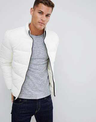 Asos DESIGN puffer jacket with funnel in ecru