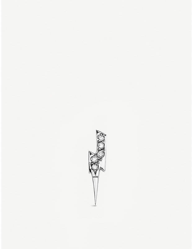 The Alkemistry Sydney Evan Lightning bolt 14ct white-gold and diamond single stud earring