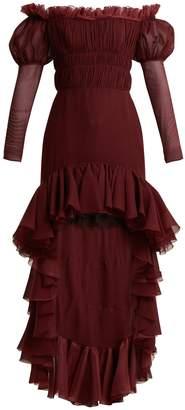 Giambattista Valli Smocked off-the-shoulder silk-chiffon dress