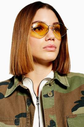 Topshop Womens Metal Hexagon Yellow Sunglasses - Silver