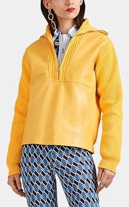 Prada Women's Patchwork Rib-Knit & Leather Jacket - Yellow