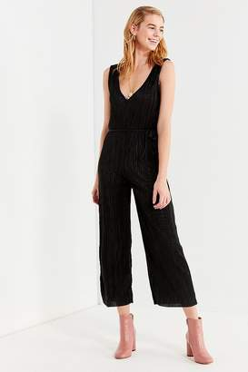 Urban Outfitters Plisse Plunging Shapeless Jumpsuit