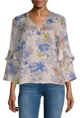 Floral Bell-Sleeve Blouse