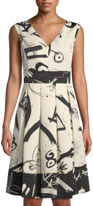 Donna Karan V-Neck Printed Dull-Faille Fit-&-Flare Dress