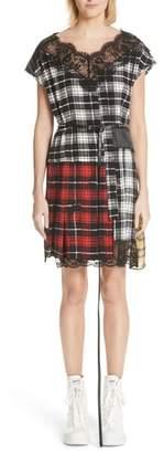 Marc Jacobs Lace Trim Plaid Silk Dress