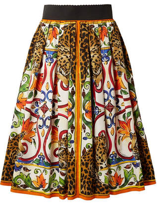 Dolce & Gabbana Maiolica Pleated Printed Cotton-poplin Skirt - Orange