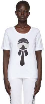 Fendi White Metallic Karlito T-Shirt