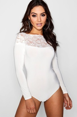 boohoo Slinky Lace Trim Long Sleeve Bodysuit de02d57d8
