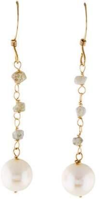 14K Pearl & Rough Diamond Drop Earrings yellow 14K Pearl & Rough Diamond Drop Earrings
