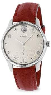 Gucci G-Timeless Stainless Steel Case 40MM Automatic Silver Guilloche Dial Red Leather Watch